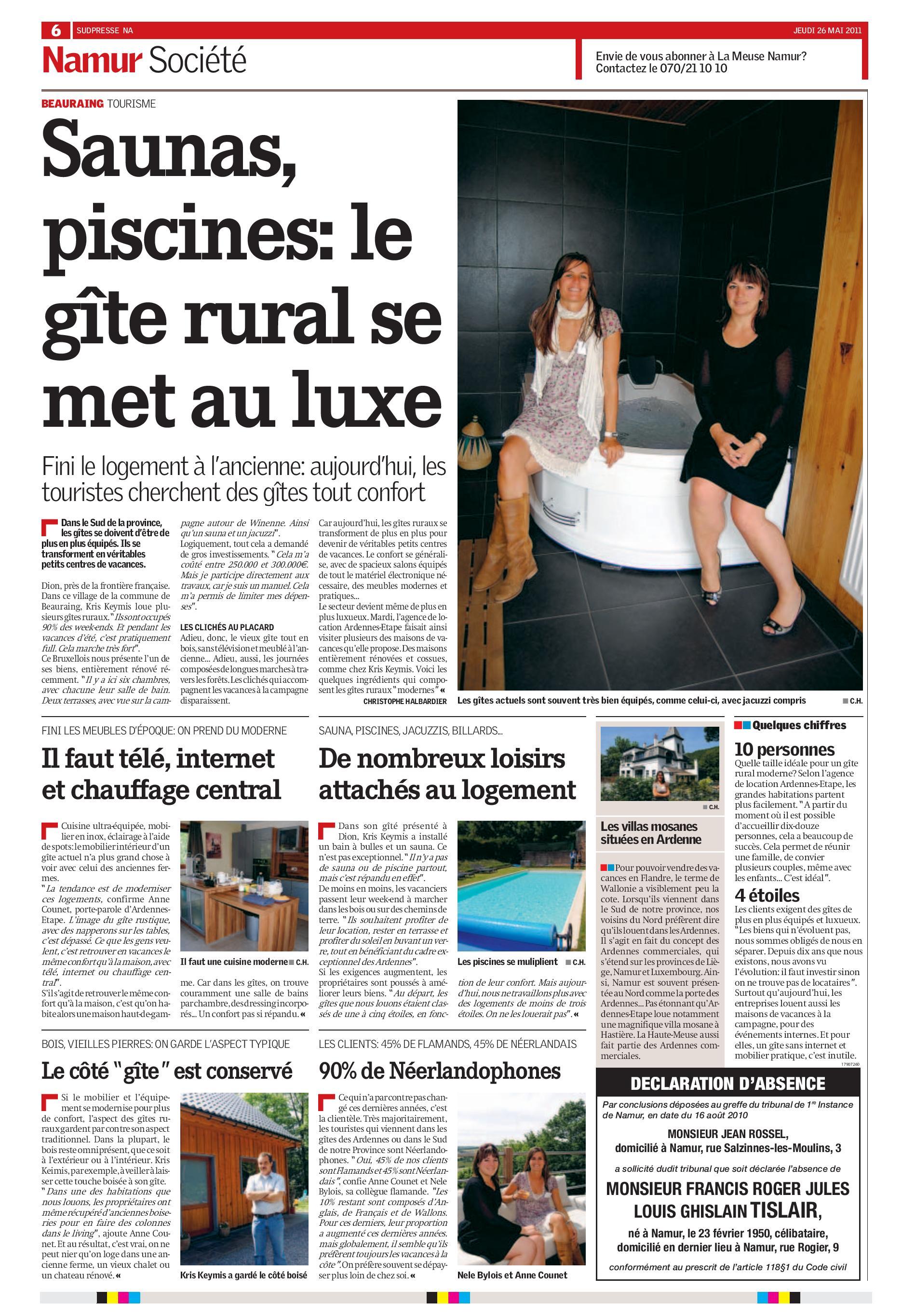 Saunas, piscines: le gîte rural se met au luxe